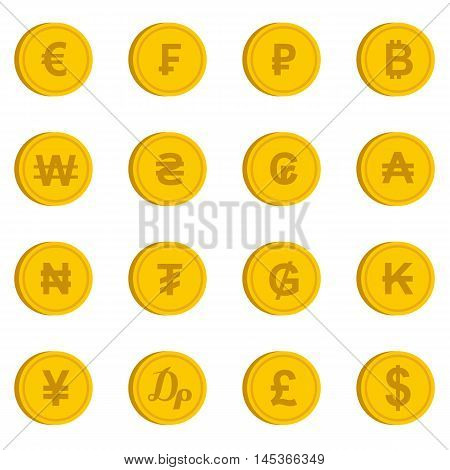 Currency from different countries icons set in flat style. Money coin set collection vector illustration