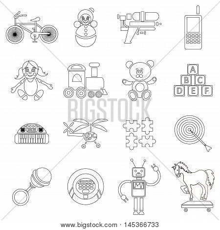 Childrens toys icons set in outline style. Toddler plaything set collection vector illustration