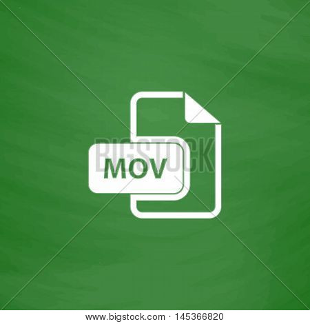 MOV Simple line vector button. Imitation draw with white chalk on blackboard. Flat Pictogram and School board background. Outine illustration icon