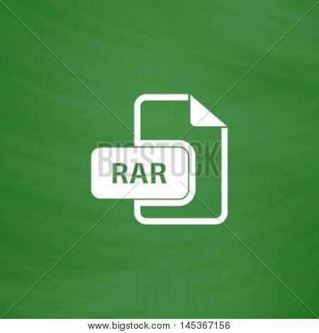 RAR Simple line vector button. Imitation draw with white chalk on blackboard. Flat Pictogram and School board background. Outine illustration icon