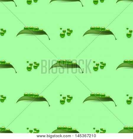Fresh Natural Green Peas Seamless Pattern Isolated on Green