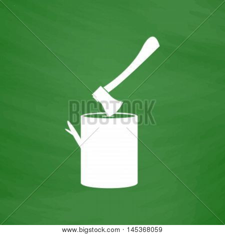 lumberjack Simple line vector button. Imitation draw with white chalk on blackboard. Flat Pictogram and School board background. Outine illustration icon
