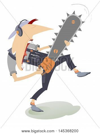 Funny man with chainsaw. Worker holding a chainsaw