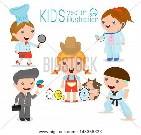 Children's dream jobs, professions in dream for kids, Happy children in work wear.