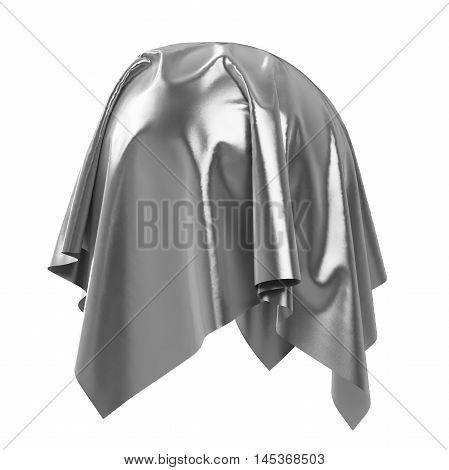 Sphere covered with silver shiny fabric material. Isolated on white background. Surprise award prize presentation concept. Reveal the hidden object. Raise the curtain. Photorealistic 3D illustration.