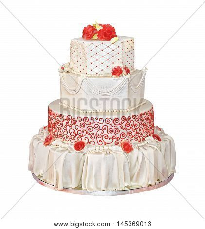 Big Wedding Cake With Four Tiers Isolated