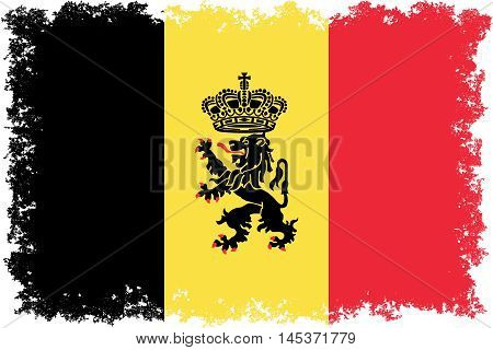 National flag of Belgium with government lion ensign and distressed edges