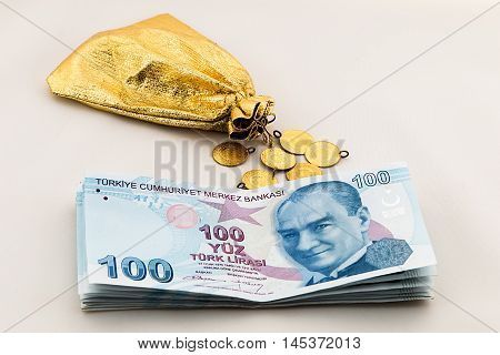 bankroll and gold, Turkish lira business finance objects foreign currency and capital goods