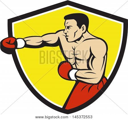 Illustration of a boxer wearing boxing gloves jabbing punching boxing viewed from the side set inside shield crest done in cartoon style.