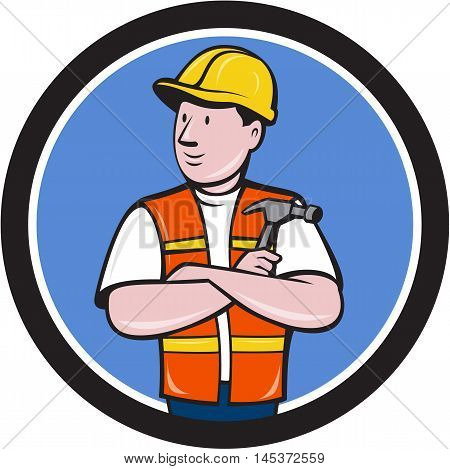 Illustration of a builder carpenter construction worker arms folded holding hammer looking to the side set inside circle on isolated background done in cartoon style.