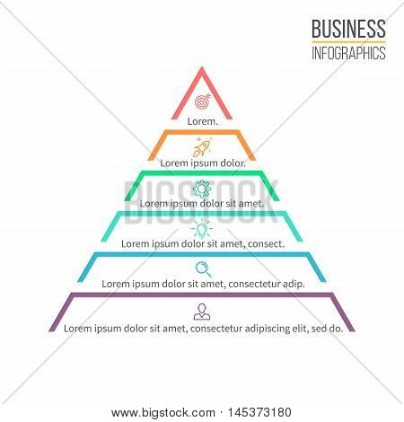 Pyramid, triangle with 6 steps, levels. Vector design element.