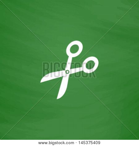 pruner Simple line vector button. Imitation draw with white chalk on blackboard. Flat Pictogram and School board background. Outine illustration icon