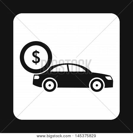 Buying car icon in simple style isolated on white background. Purchase symbol