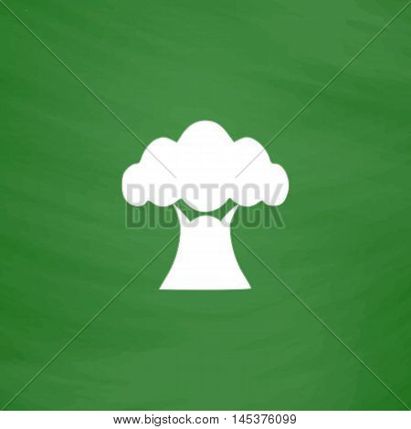 Baobab Simple line vector button. Imitation draw with white chalk on blackboard. Flat Pictogram and School board background. Outine illustration icon