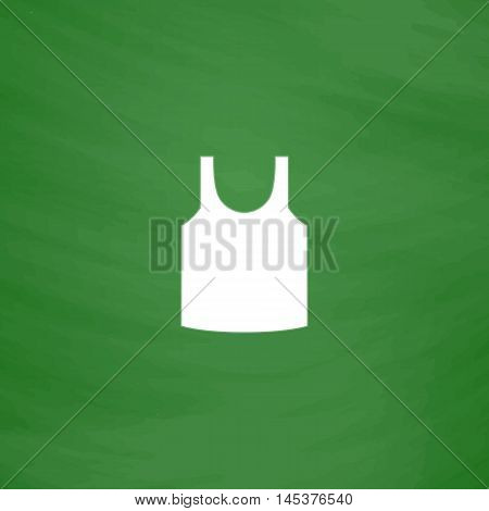 singlet Simple line vector button. Imitation draw with white chalk on blackboard. Flat Pictogram and School board background. Outine illustration icon