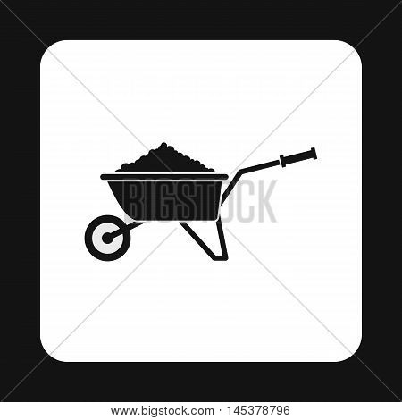 Garden wheelbarrow with earth icon in simple style isolated on white background. Gardening symbol