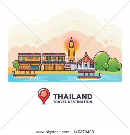 Vector Illustration of Thailand Travel Destination Colorful Detailed Skyline for Poster, Icon, Banner,Postcard. Trendy Linear Style