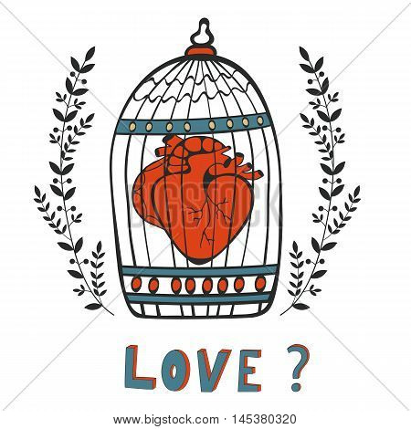 Is it Love. Human heart in a cage. Vector illustration.