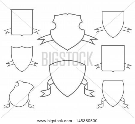 Escutcheons For Coat Of Arms Set Shield Templates