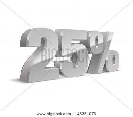25% percent off, sale white background, silver-gray object 3D. Eps10 Vector.