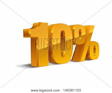 10% percent off, sale,  golden-yellow object 3D. Eps10 Vector.