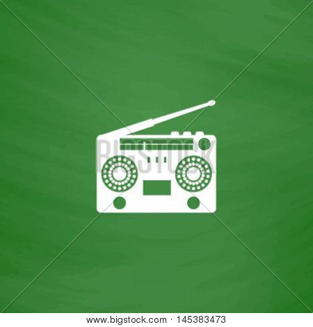 boombox Simple line vector button. Imitation draw with white chalk on blackboard. Flat Pictogram and School board background. Outine illustration icon