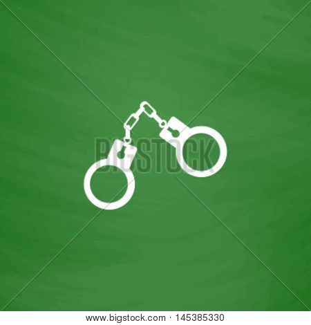 Handcuffs Simple line vector button. Imitation draw with white chalk on blackboard. Flat Pictogram and School board background. Outine illustration icon