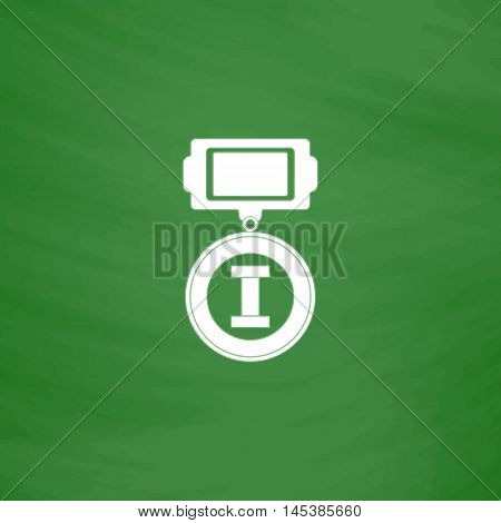 award Simple line vector button. Imitation draw with white chalk on blackboard. Flat Pictogram and School board background. Outine illustration icon
