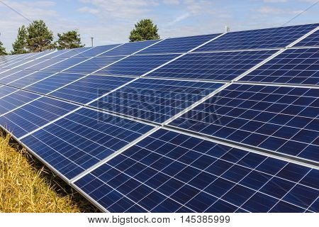 Solar Panel Farm. Corn Fields are Being Converted into Green Energy Areas Using Photovoltaic Cells II
