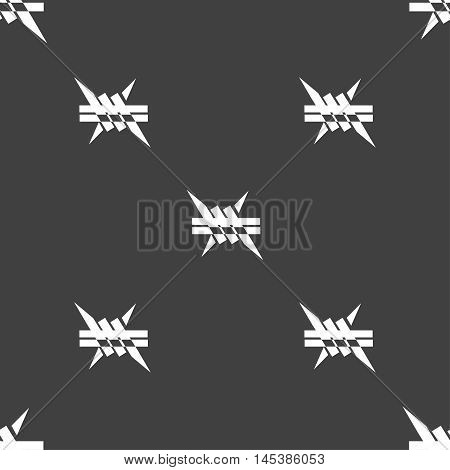 Barbed Wire Icon. Sign. Seamless Pattern On A Gray Background. Vector