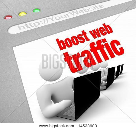 A web browser window shows the words Boost Web Traffic and several people working on laptop computers poster