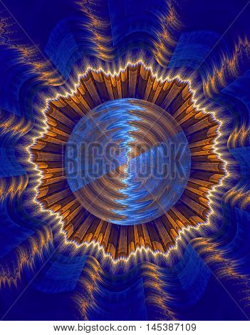 Abstract colorful fractal computer generated image in blue and yellow shades.