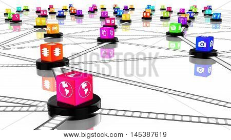 Network concept 3D illustration with colored cubes on nodes textured with IOT signs and symbols