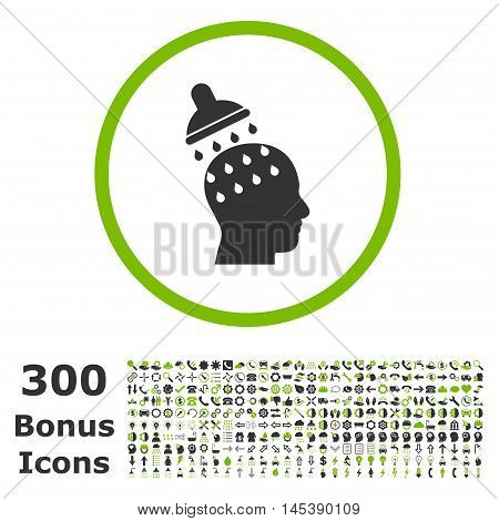 Brain Washing rounded icon with 300 bonus icons. Glyph illustration style is flat iconic bicolor symbols, eco green and gray colors, white background.
