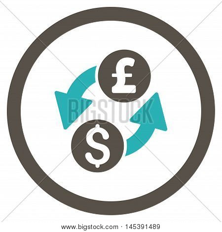 Dollar Pound Exchange rounded icon. Vector illustration style is flat iconic bicolor symbol, grey and cyan colors, white background.