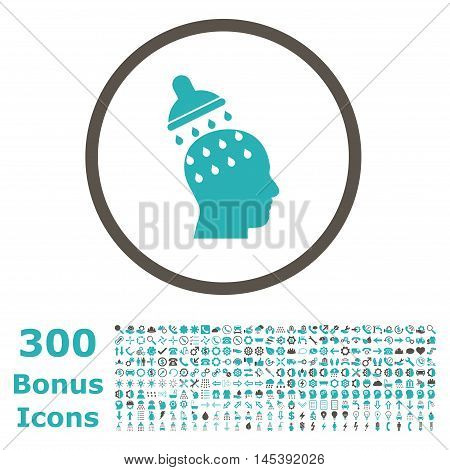 Brain Washing rounded icon with 300 bonus icons. Glyph illustration style is flat iconic bicolor symbols, grey and cyan colors, white background.