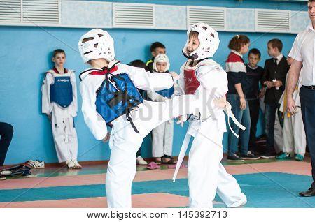 Orenburg, Russia - 23 April 2016: The Boys Compete In Taekwondo