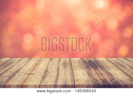 Wood Table Top On Red Bokeh Abstract Background - Can Be Used For Montage Or Display Your Products.v