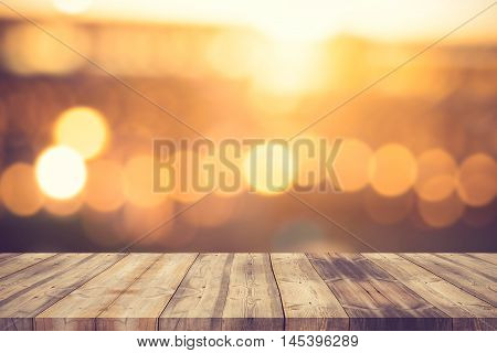 Wood Table Top On Golden Bokeh Abstract Background - Can Be Used For Montage Or Display Your Product