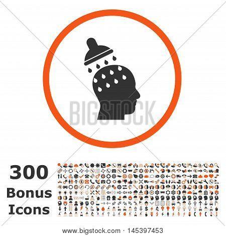 Brain Washing rounded icon with 300 bonus icons. Glyph illustration style is flat iconic bicolor symbols, orange and gray colors, white background.