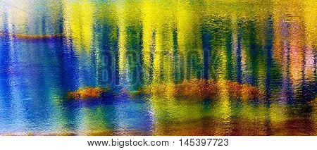 Blue Yellow Pink Spring Colors Water Reflection Abstract Wenatchee River Leavenworth Washington
