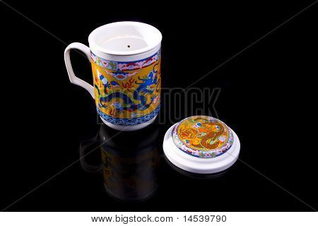 Chinese tea cup with red dragon ornament
