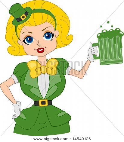 Illustration of a Girl Holding a Mug of Beer