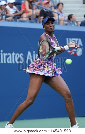 NEW YORK - AUGUST 30, 2016: Grand Slam champion Venus Williams of United States in action during her first round match at US Open 2016 at Billie Jean King National Tennis Center in New York