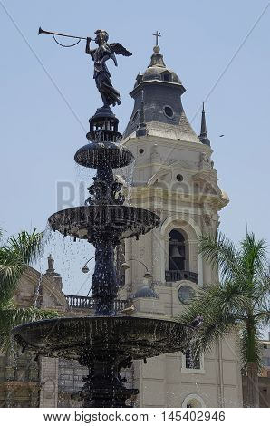 Lima, Peru - December 31, 2014: Fountain on the Plaza Mayor in Lima