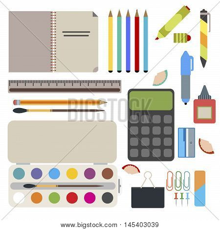 Back to school background with school supplies set vector illustration. Back to school ruler learning accessories student book school supplies set. School supplies from student backpack.