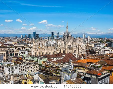 High dynamic range HDR Aerial view of Duomo di Milano gothic cathedral church in Milan Italy poster