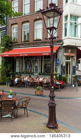 Amsterdam the Netherlands-July 27 2016: The traditional Dutch cafe de Doelen located at Stadsdeel centrum in Amsterdam the Netherlands.