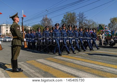Tyumen, Russia - May 9. 2009: Parade of Victory Day in Tyumen. Company of traffic police officers march on parade