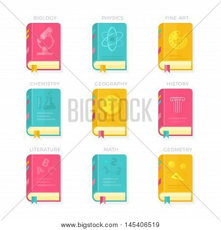 Nine School Lessons. Biology Physics Fine Art Chemistry Geography History Literature Math Geometry Book Covers Vector Illustration